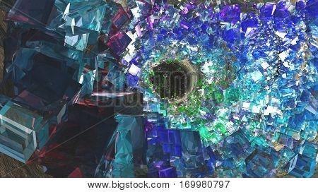 Inside of crystal cavern  3D Render