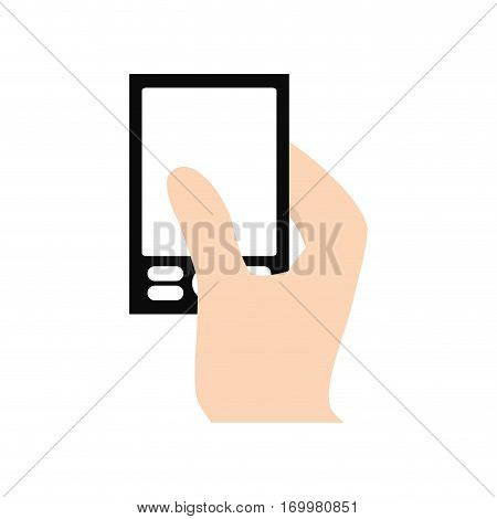 hand touch smart phone typing vector illustration eps 10