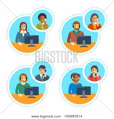 Call center agents team talking on the phone with customers. Flat vector banners. Customer care operators. Online technical support service assistants with headphones.