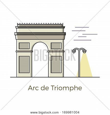 Triumphal arch (Arch de Triomphe in french) vector illustration in flat design. Famous architectural sightseeing in Paris, France. Graphic element for cards, prints, maps and infographics.
