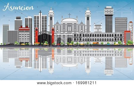 Asuncion Skyline with Gray Buildings, Blue Sky and Reflections. Vector Illustration. Business Travel and Tourism Concept with Modern Architecture. Image for Presentation Banner Placard and Web Site