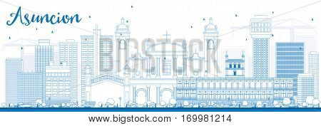 Outline Asuncion Skyline with Blue Buildings. Vector Illustration. Business Travel and Tourism Concept with Modern Architecture. Image for Presentation Banner Placard and Web Site