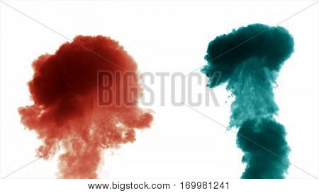 Colorful Thick Smoke On A White Background Isolated