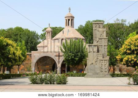 Chapel and Hackkar cross monyment in holy Etchmiadzin church place near Yerevan, the capital of Armenia.