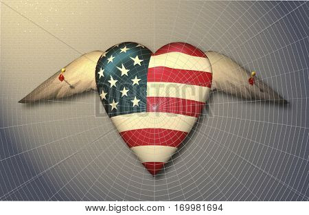 USA Flag winged heart pinned to surface , Its freedom taken away. It is trapped. Pinned like a specimen. In addition it is covered by a spiders web    3D Render