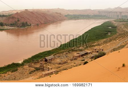 Yellow River (Huang He) - amazing landscape in Shapotou scenic area Ningxia province of China