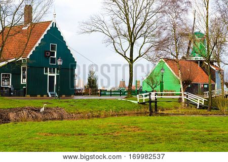 Rural Dutch Scenery In Zaanse Schans Village