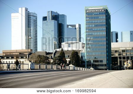 FRANKFURT, GERMANY - JANUARY 05: Road traffic and pedestrians cross the Untermain Bridge in the direction of Sachsenhausen and city center on January 05, 2017 in Frankfurt.