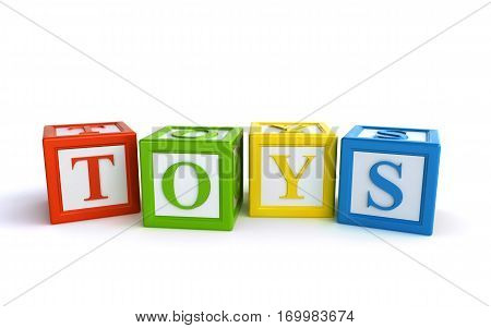 colorful toy blocks on the white background (3d rendering)
