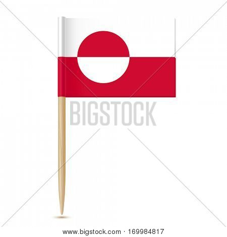 Flag of Greenland. Flag toothpick isolated on white background