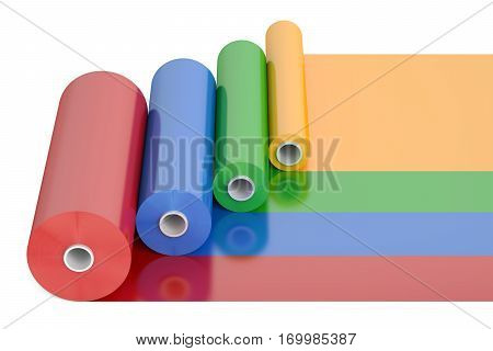 Color PVC Polythene Plastic Tape Rolls 3D rendering isolated on white background