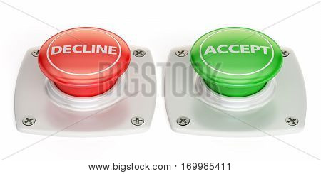 decline and accept push button 3D rendering isolated on white background