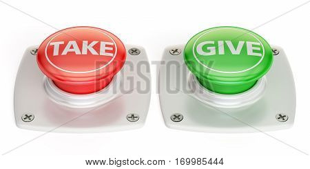 give and take push button 3D rendering isolated on white background
