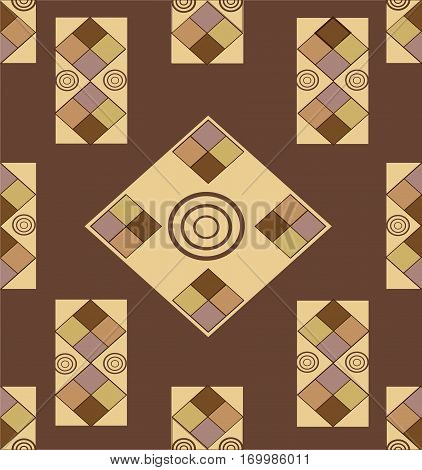 Variegated geometric shapes on a  brown background