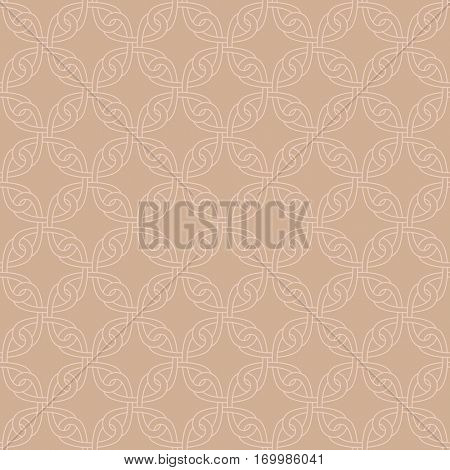 Neutral Seamless Linear Pattern. Tileable Geometric Outline Ornate. Celtic Knotwork Vector Background. Pale dogwood color.
