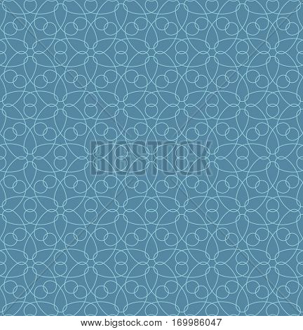 Neutral Seamless Linear Pattern. Tileable Geometric Outline Ornate. Floral Vector Background in Niagara color.