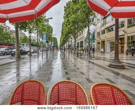 Paris, France - June 2016: street café at Champs Elysees