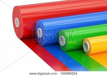 Multicolor PVC Polythene Plastic Tape Rolls 3D rendering isolated on white background