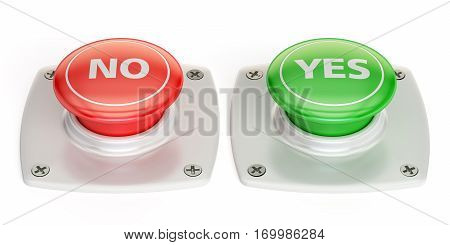 yes and no push button 3D rendering isolated on white background