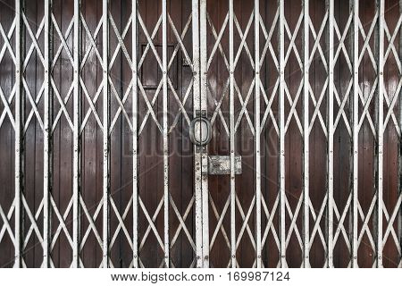 Old steel door texture pattern or steel door background with rusty metal. Grunge retro vintage of steel door for design.
