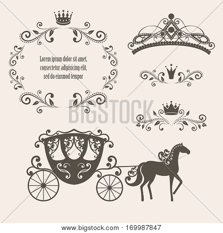 Design elements vintage royalty frame with crown ornamental style diadem carriage in brown color. Vector illustration. Isolated on beige background. Can use for birthday card wedding invitations.
