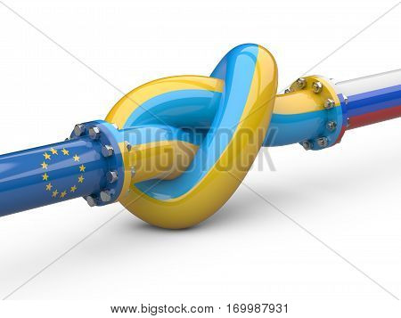 Russia - Ukraine - Europe gas crisis concept. Pipeline tied in a knot. 3d illustration isolated on a white background.