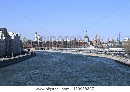 Moscow Kremlin on a sunny spring day. View from the embankment of the Moskva River