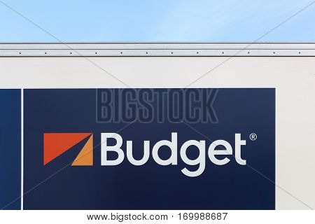 Villefranche, France - January 29, 2017: Budget logo on a wall. Budget is an American car rental company that was founded in 1958 in Los Angeles