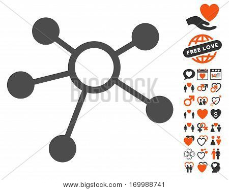 Connections pictograph with bonus romantic icon set. Vector illustration style is flat iconic elements for web design app user interfaces.