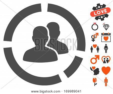 Demography Diagram pictograph with bonus marriage design elements. Vector illustration style is flat iconic elements for web design app user interfaces.