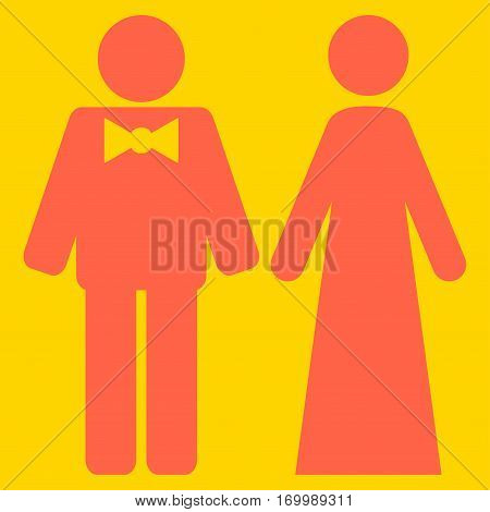 Just Married Persons vector icon symbol. Flat pictogram designed with tomato red and isolated on a yellow background.
