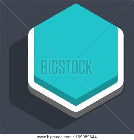 Use it in all your designs. Flat web internet hexagon button with dark shadow in 3D style. Inactive variant. Quick and easy recolorable shape. Vector illustration a graphic element