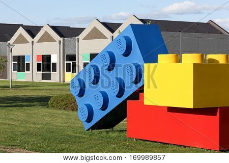 Billund, Denmark - May14, 2016: Lego office building in Billund, Denmark. Lego is a line of plastic construction toys that are manufactured by the Lego Group
