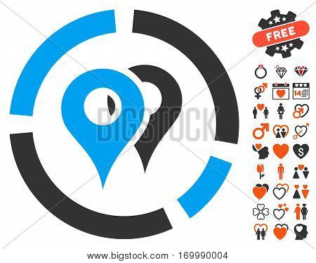 Geo Diagram icon with bonus marriage pictures. Vector illustration style is flat iconic elements for web design app user interfaces.