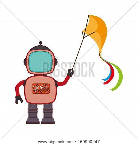 colorful silhouette with robot with fly kite vector illustration
