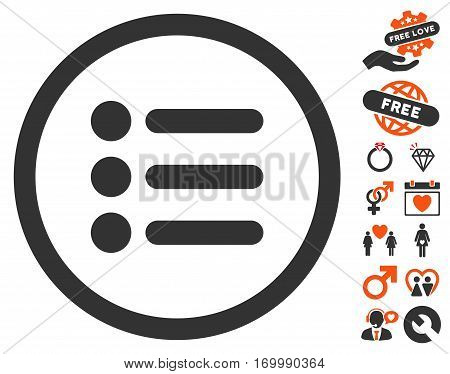 Items pictograph with bonus marriage pictures. Vector illustration style is flat iconic elements for web design app user interfaces.