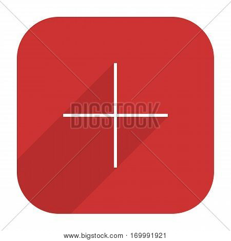 Web button adding followers. Social network web icon with plus sign and long shadow. Rounded square shape in simple flat style. Vector illustration a graphic element