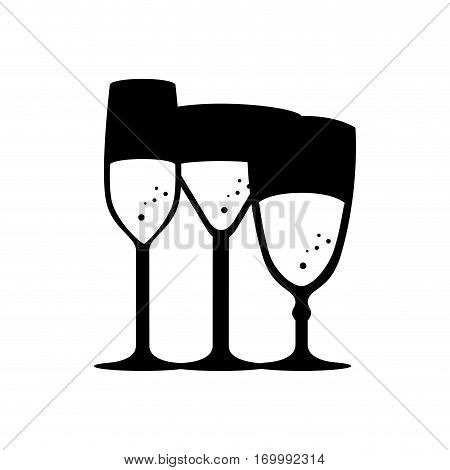monochrome silhouette with several cocktail glasses vector illustration