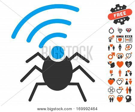 Radio Spy Bug pictograph with bonus decoration pictograms. Vector illustration style is flat iconic symbols for web design app user interfaces.
