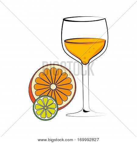 color silhouette with cocktail drink and orange and lemon slice vector illustration