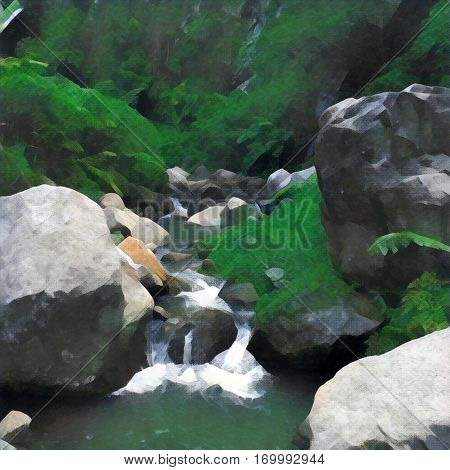 Digital illustration of the river and stone riverbed green and grey painting of fresh water current in mountains. Ecological natural landscape. Rocks in the valley with spring. Outdoor trekking