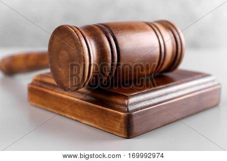 Judge's gavel and sound block, closeup