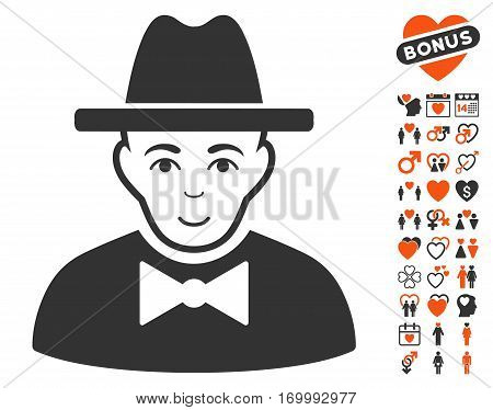 Spy icon with bonus decoration graphic icons. Vector illustration style is flat iconic elements for web design app user interfaces.