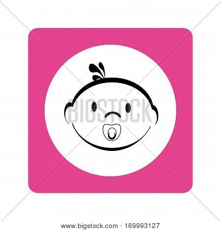 contour baby face with pacifier in magenta square frame