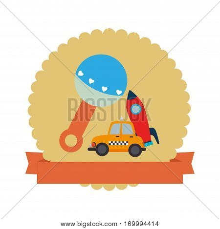 colorful silhouette with rattle and rocket and car toy in circle with ribbon vector illustration