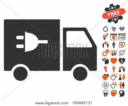 Electric Car pictograph with bonus decoration clip art. Vector illustration style is flat iconic symbols for web design app user interfaces.