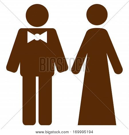 Just Married Persons vector icon symbol. Flat pictogram designed with brown and isolated on a white background.