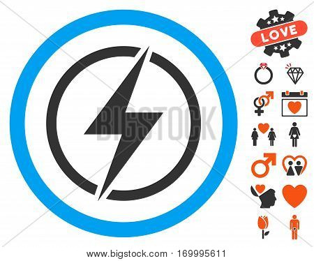 Electrical Hazard pictograph with bonus romantic pictograph collection. Vector illustration style is flat iconic symbols for web design app user interfaces.