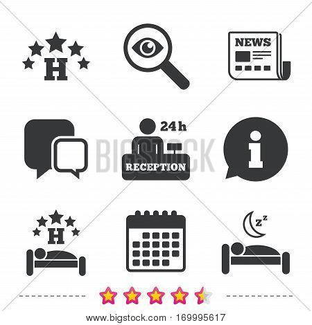 Five stars hotel icons. Travel rest place symbols. Human sleep in bed sign. Hotel 24 hours registration or reception. Newspaper, information and calendar icons. Investigate magnifier, chat symbol