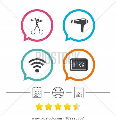 Hotel services icons. Wi-fi, Hairdryer and deposit lock in room signs. Wireless Network. Hairdresser or barbershop symbol. Calendar, internet globe and report linear icons. Star vote ranking. Vector